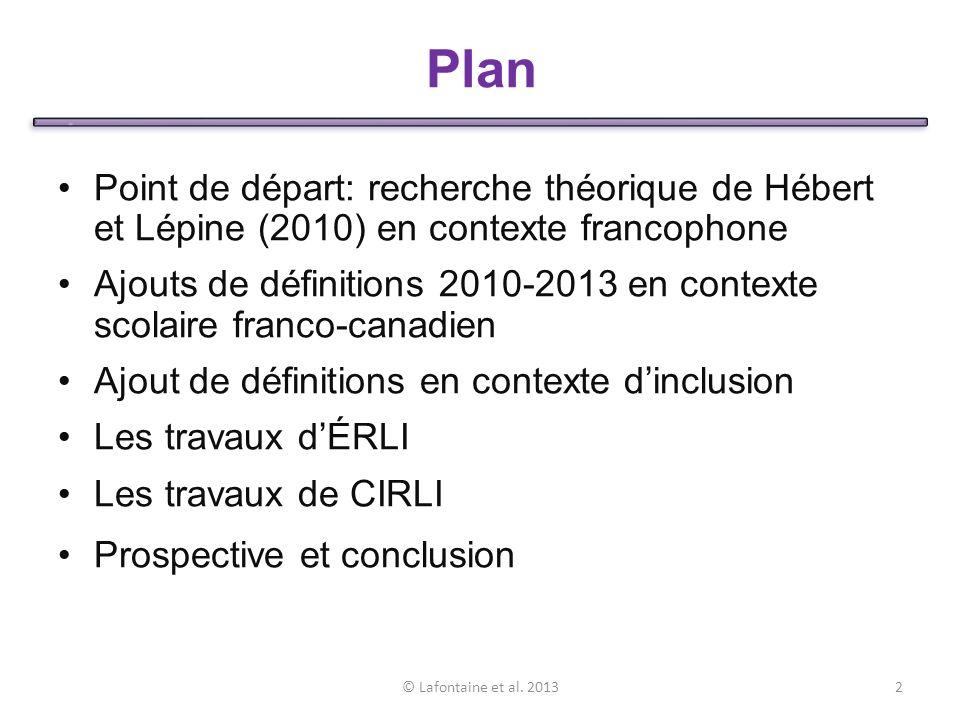 Plan Point de départ: recherche théorique de Hébert et Lépine (2010) en contexte francophone.