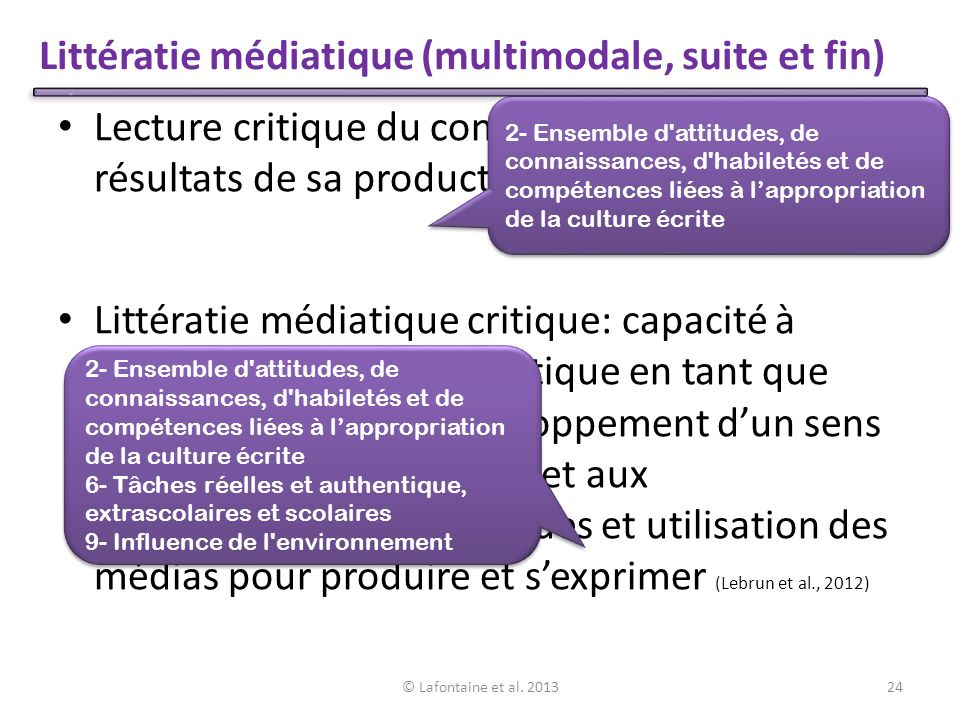 Littératie médiatique (multimodale, suite et fin)
