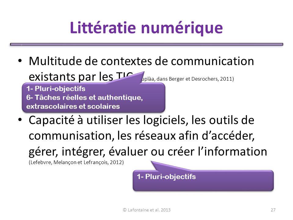 Littératie numérique Multitude de contextes de communication existants par les TIC (Duplàa, dans Berger et Desrochers, 2011)