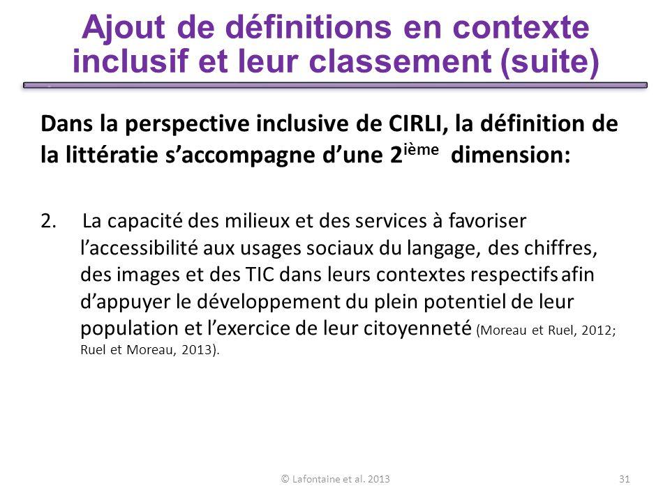 Ajout de définitions en contexte inclusif et leur classement (suite)