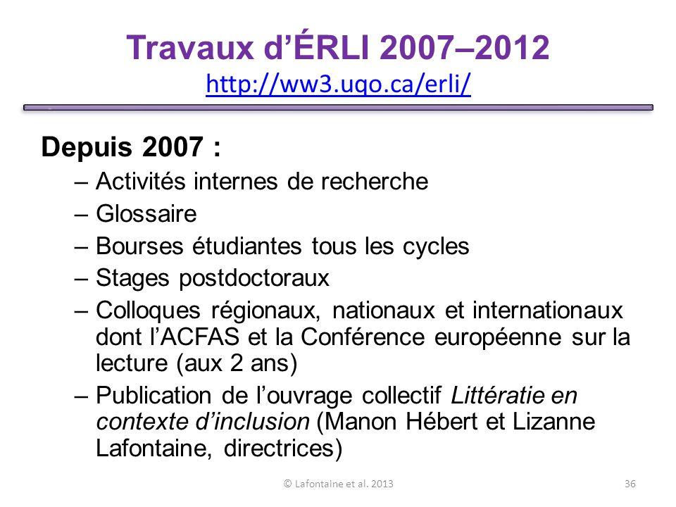 Travaux d'ÉRLI 2007–2012 http://ww3.uqo.ca/erli/