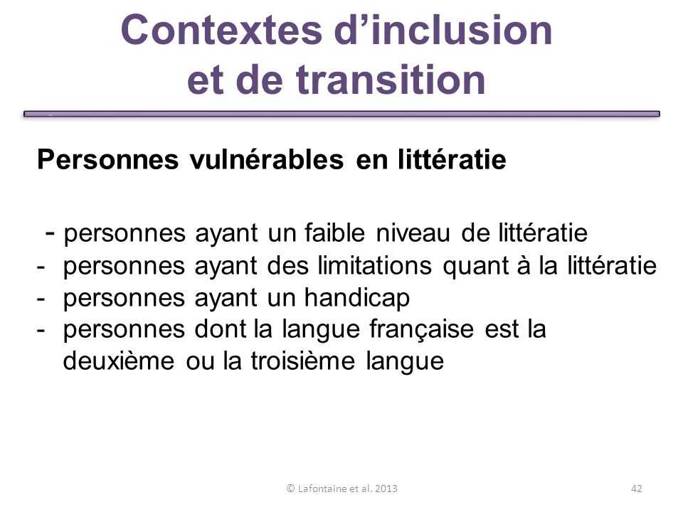 Contextes d'inclusion et de transition