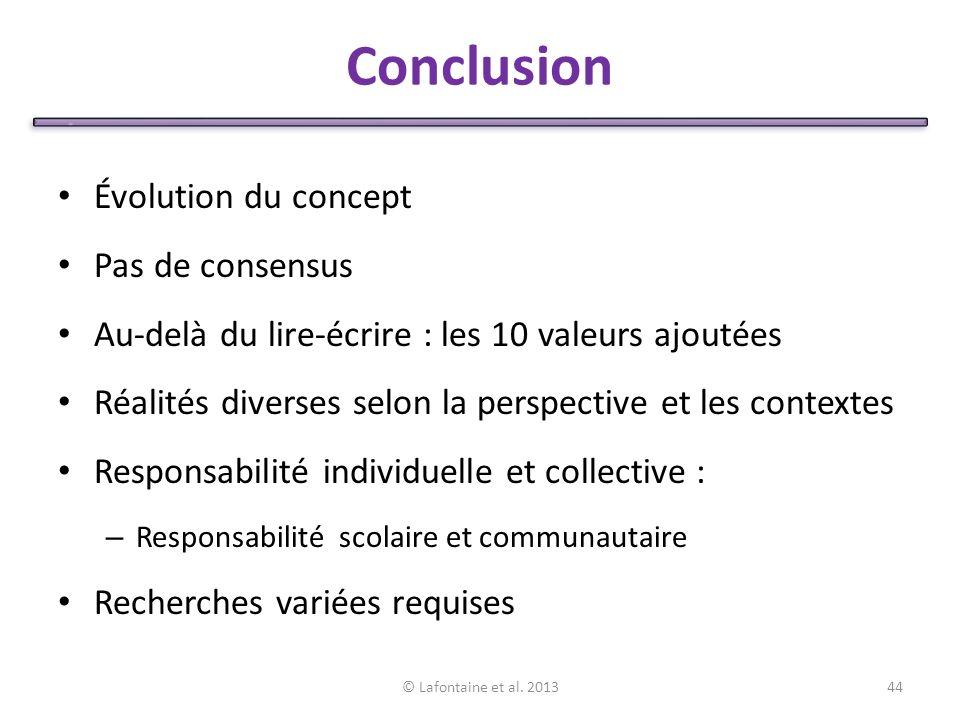 Conclusion Évolution du concept Pas de consensus