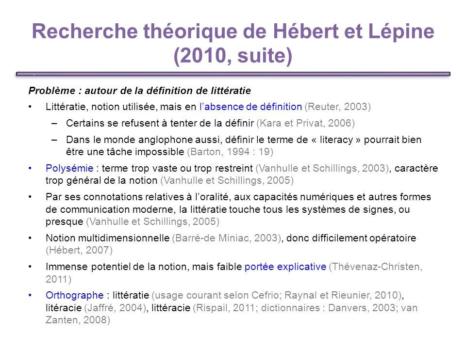 Recherche théorique de Hébert et Lépine (2010, suite)