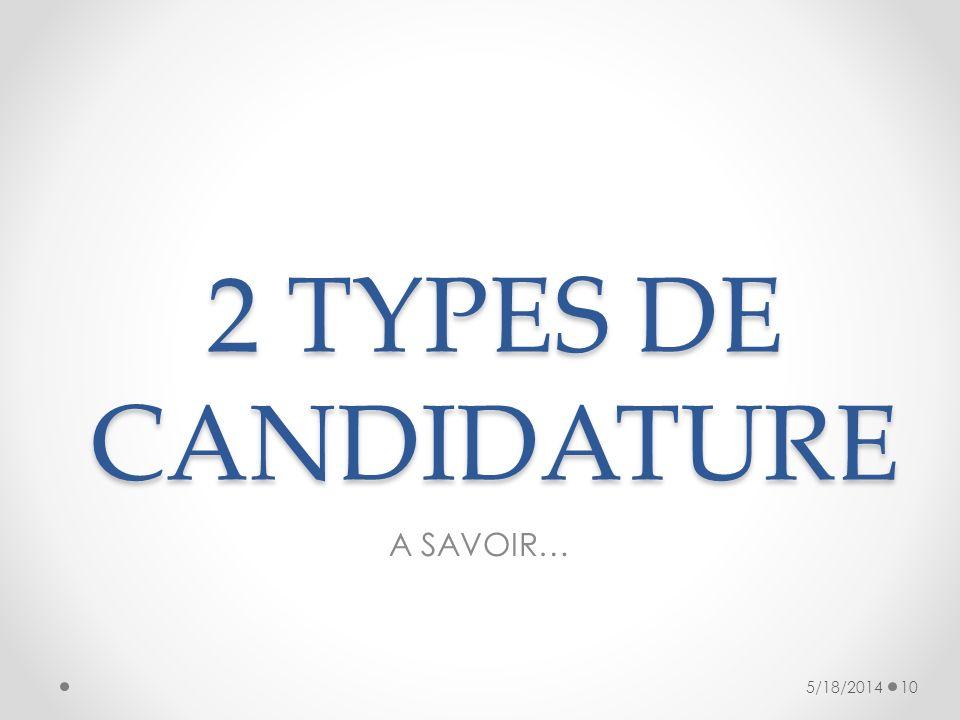 2 TYPES DE CANDIDATURE A SAVOIR… 3/31/2017
