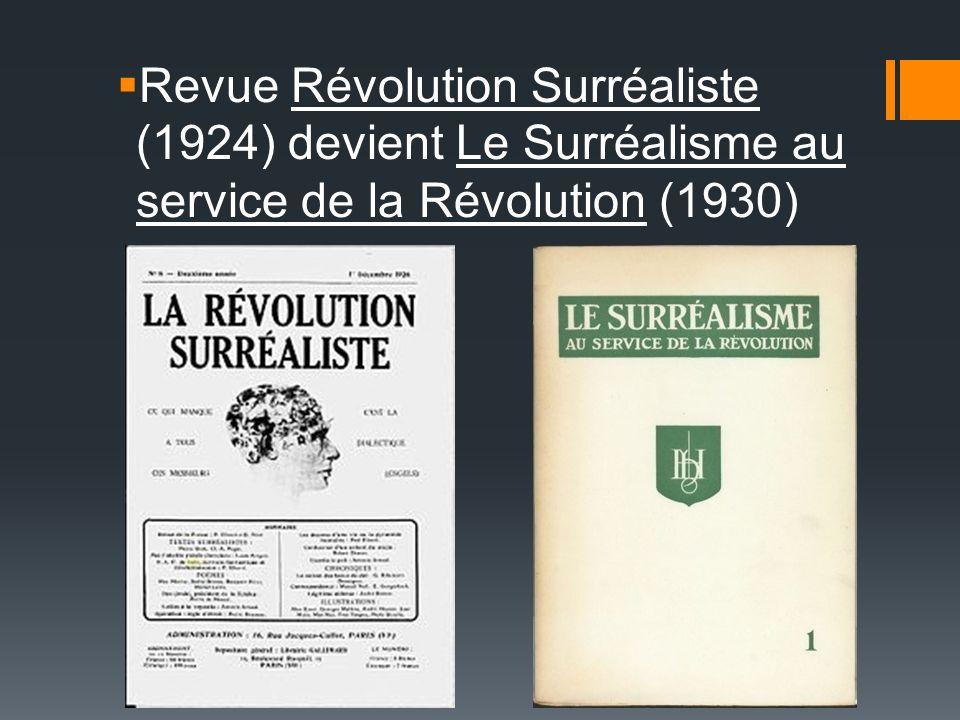 Revue Révolution Surréaliste (1924) devient Le Surréalisme au service de la Révolution (1930)