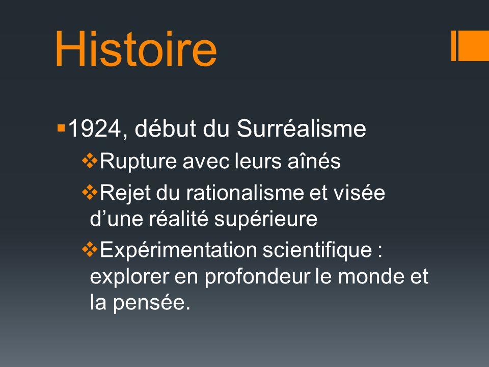 Histoire 1924, début du Surréalisme Rupture avec leurs aînés