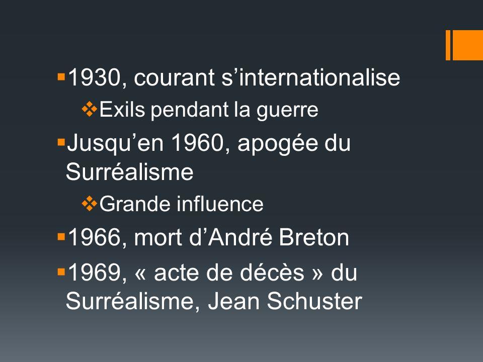1930, courant s'internationalise Jusqu'en 1960, apogée du Surréalisme