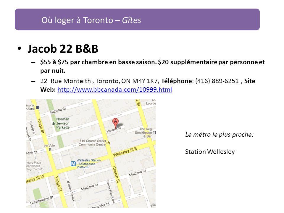 Jacob 22 B&B Où loger à Toronto – Gîtes