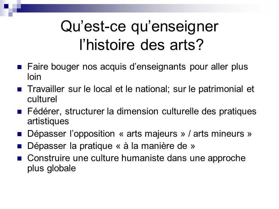 Qu'est-ce qu'enseigner l'histoire des arts
