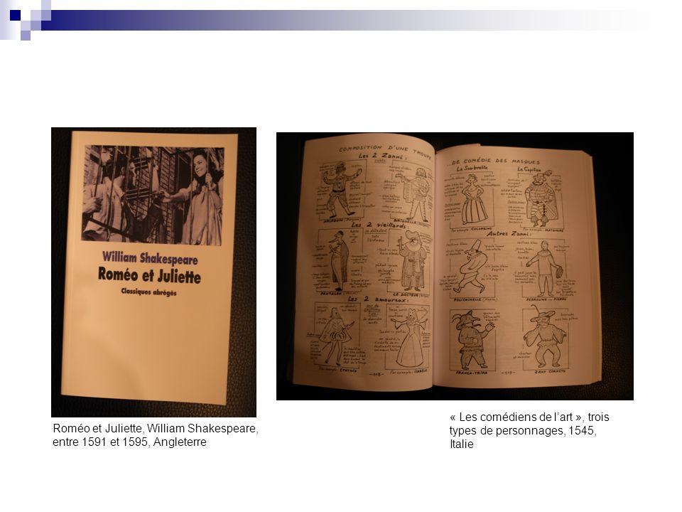 « Les comédiens de l'art », trois types de personnages, 1545, Italie