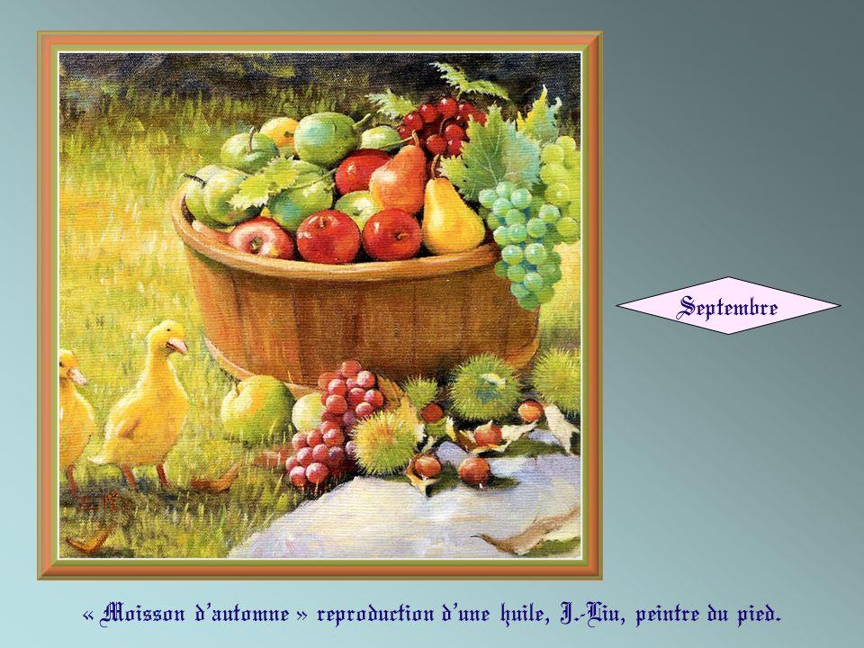 Septembre « Moisson d'automne » reproduction d'une huile, J.-Liu, peintre du pied.
