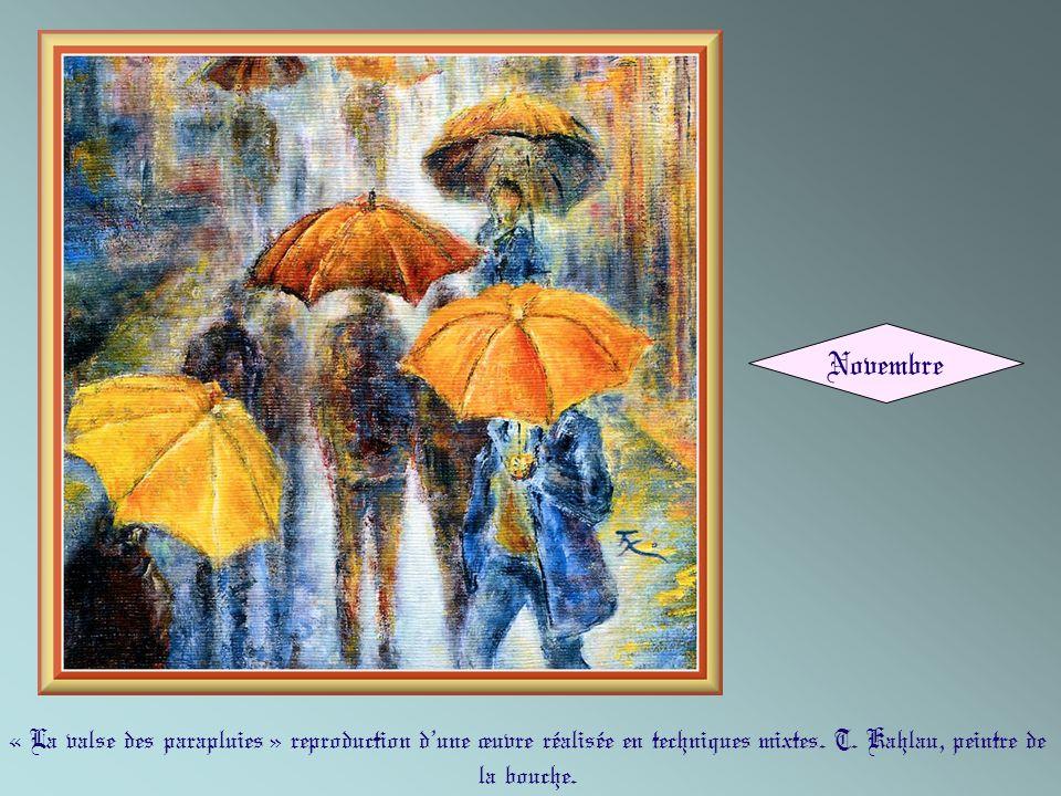 Novembre « La valse des parapluies » reproduction d'une œuvre réalisée en techniques mixtes.