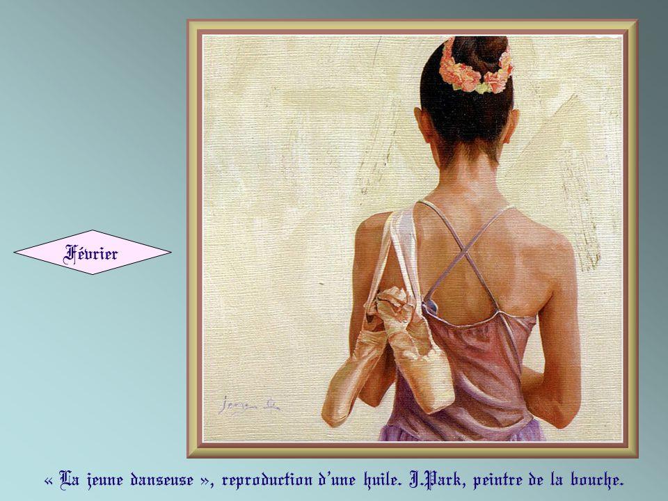 Février « La jeune danseuse », reproduction d'une huile. J.Park, peintre de la bouche.