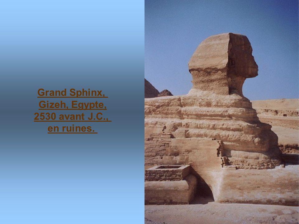 Grand Sphinx, Gizeh, Egypte, 2530 avant J.C., en ruines.