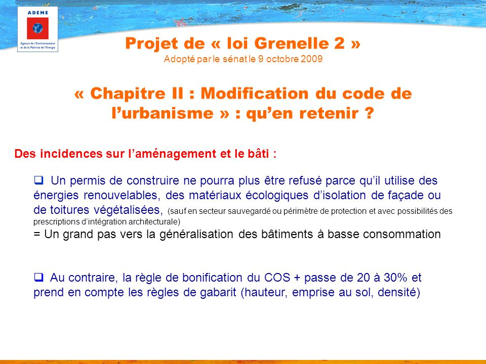 Projet de « loi Grenelle 2 » Adopté par le sénat le 9 octobre 2009 « Chapitre II : Modification du code de l'urbanisme » : qu'en retenir