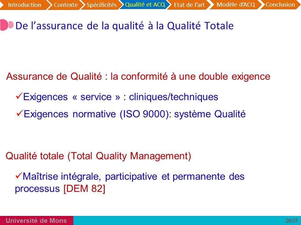 De l'assurance de la qualité à la Qualité Totale