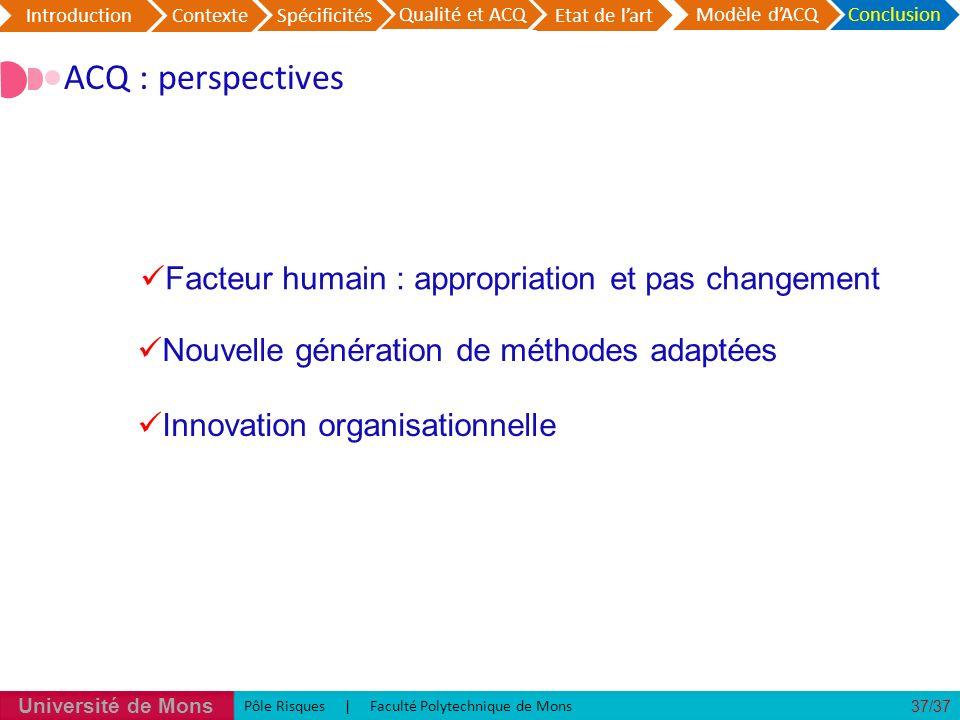 ACQ : perspectives Facteur humain : appropriation et pas changement