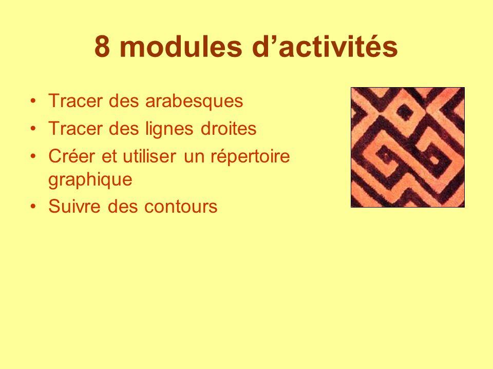 8 modules d'activités Tracer des arabesques Tracer des lignes droites
