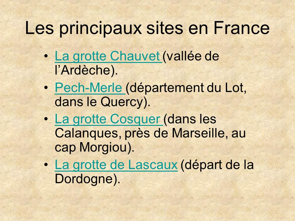 Les principaux sites en France
