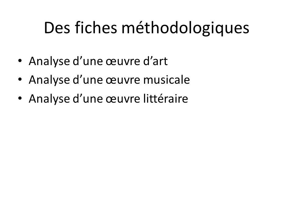 Des fiches méthodologiques