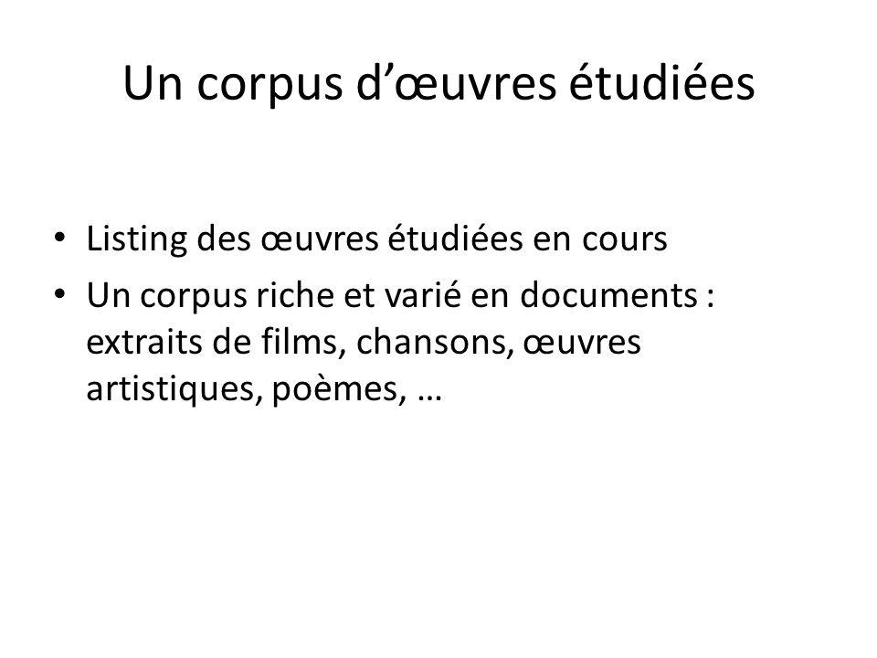 Un corpus d'œuvres étudiées