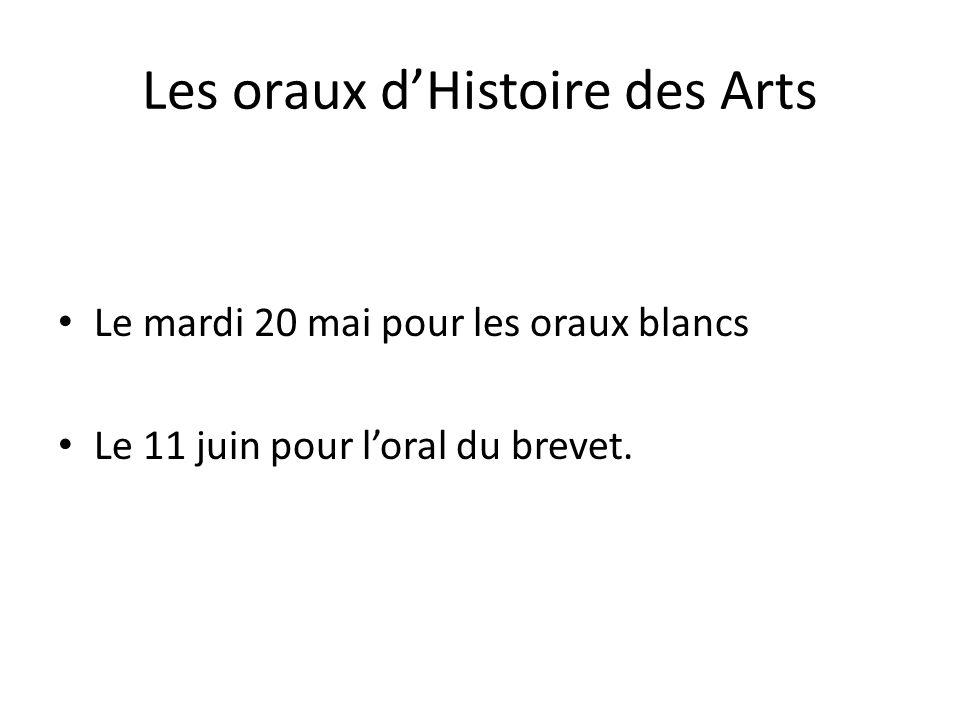 Les oraux d'Histoire des Arts
