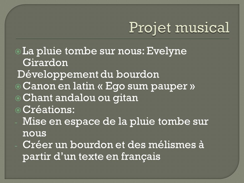 Projet musical La pluie tombe sur nous: Evelyne Girardon