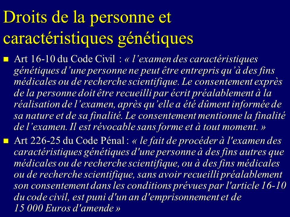 Droits de la personne et caractéristiques génétiques