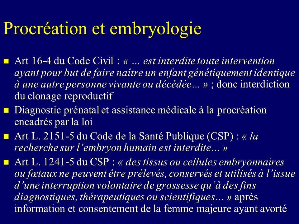 Procréation et embryologie