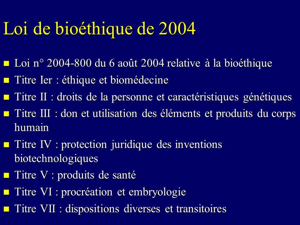 Loi de bioéthique de 2004 Loi n° 2004-800 du 6 août 2004 relative à la bioéthique. Titre Ier : éthique et biomédecine.