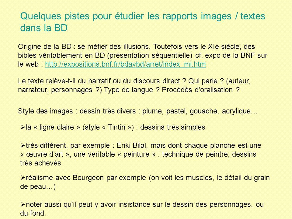 Quelques pistes pour étudier les rapports images / textes dans la BD