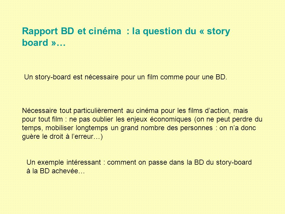 Rapport BD et cinéma : la question du « story board »…