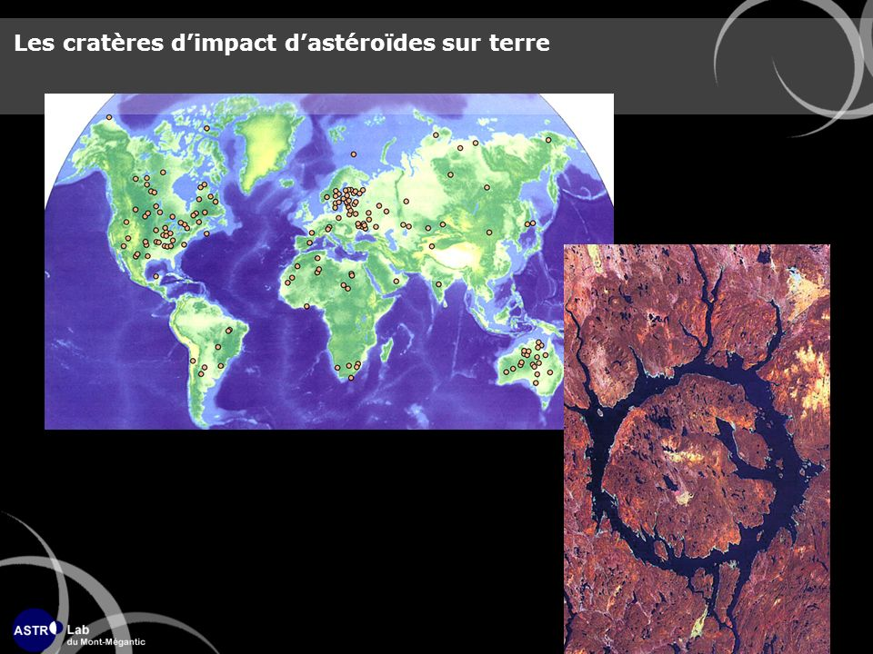 Les cratères d'impact d'astéroïdes sur terre