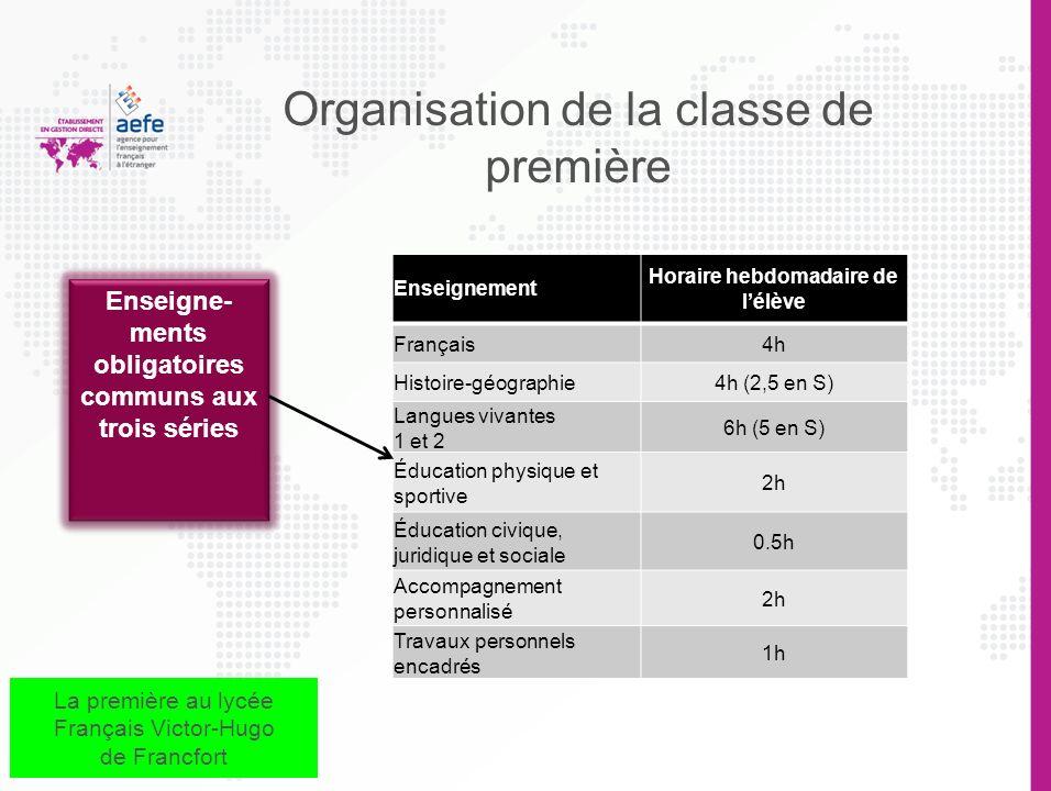 Organisation de la classe de première