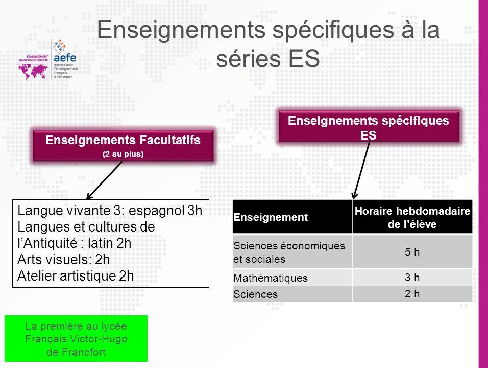 Enseignements spécifiques à la séries ES