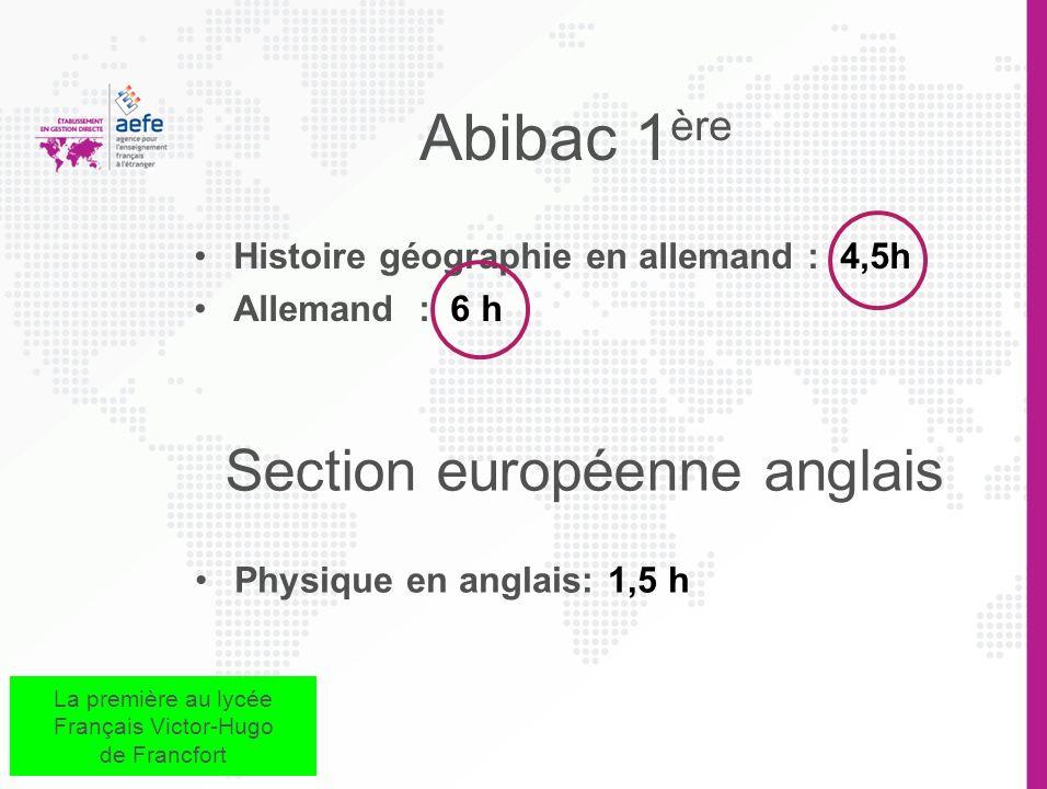 Abibac 1ère Section européenne anglais