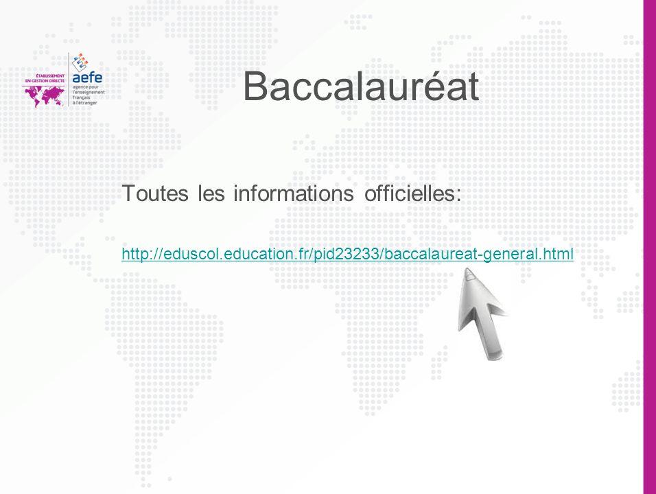 Baccalauréat Toutes les informations officielles: