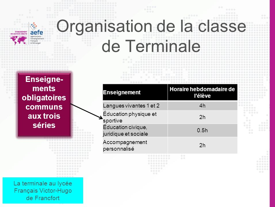 Organisation de la classe de Terminale