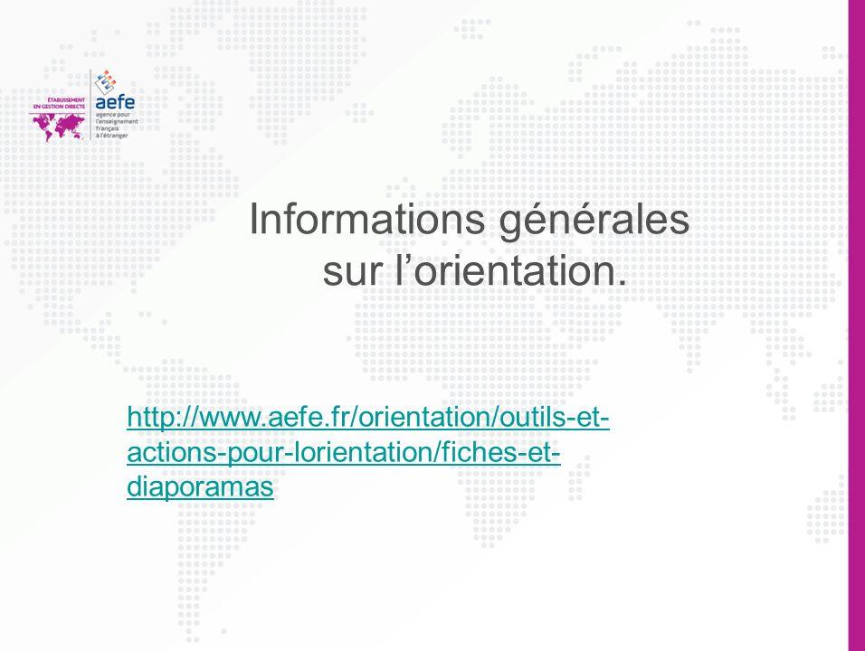 Informations générales sur l'orientation.
