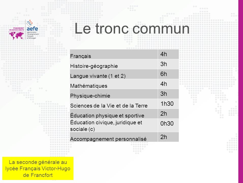 La seconde générale au lycée Français Victor-Hugo de Francfort