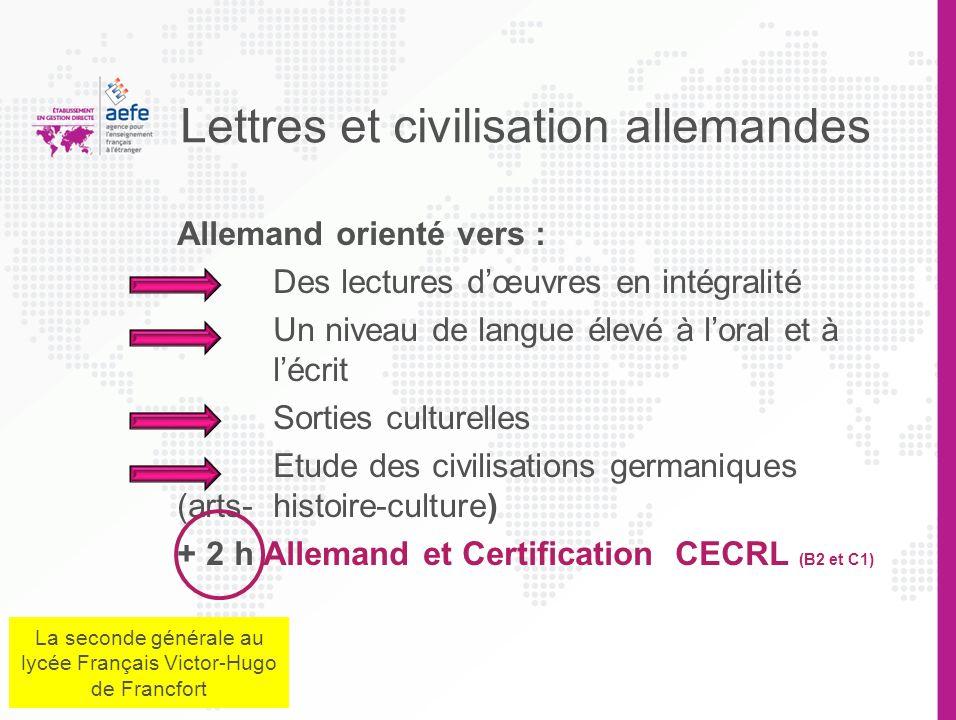 Lettres et civilisation allemandes