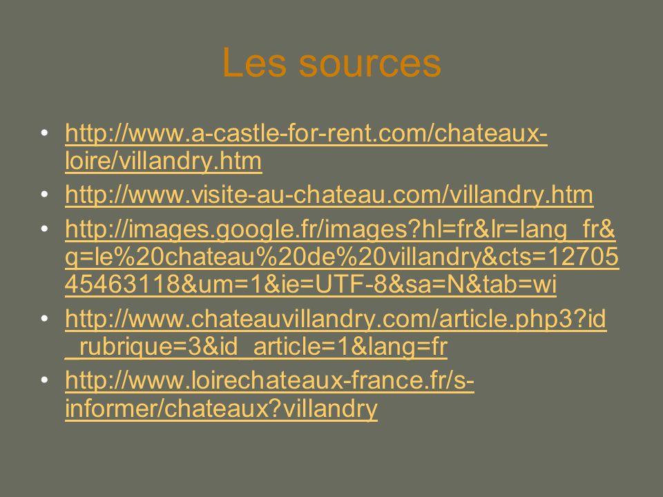 Les sources http://www.a-castle-for-rent.com/chateaux-loire/villandry.htm. http://www.visite-au-chateau.com/villandry.htm.