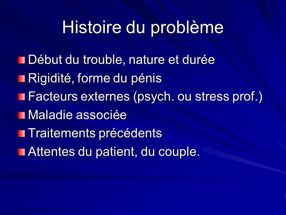 Histoire du problème Début du trouble, nature et durée