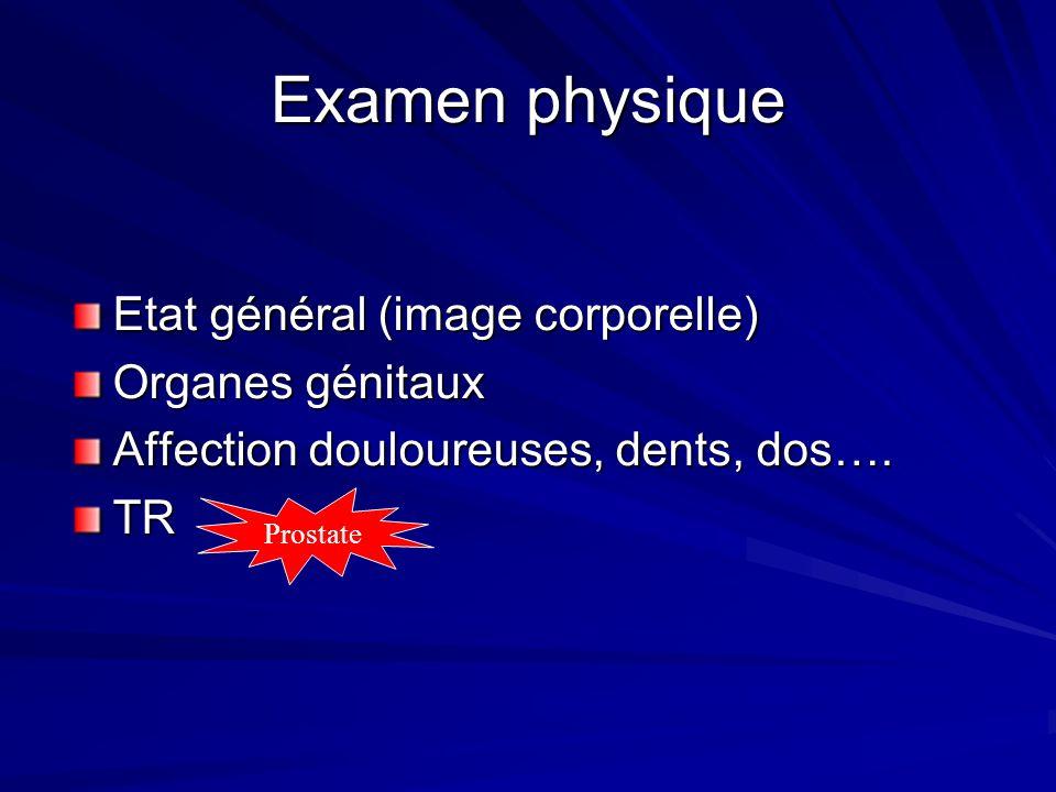 Examen physique Etat général (image corporelle) Organes génitaux