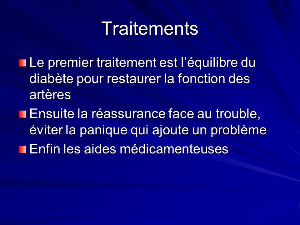Traitements Le premier traitement est l'équilibre du diabète pour restaurer la fonction des artères.