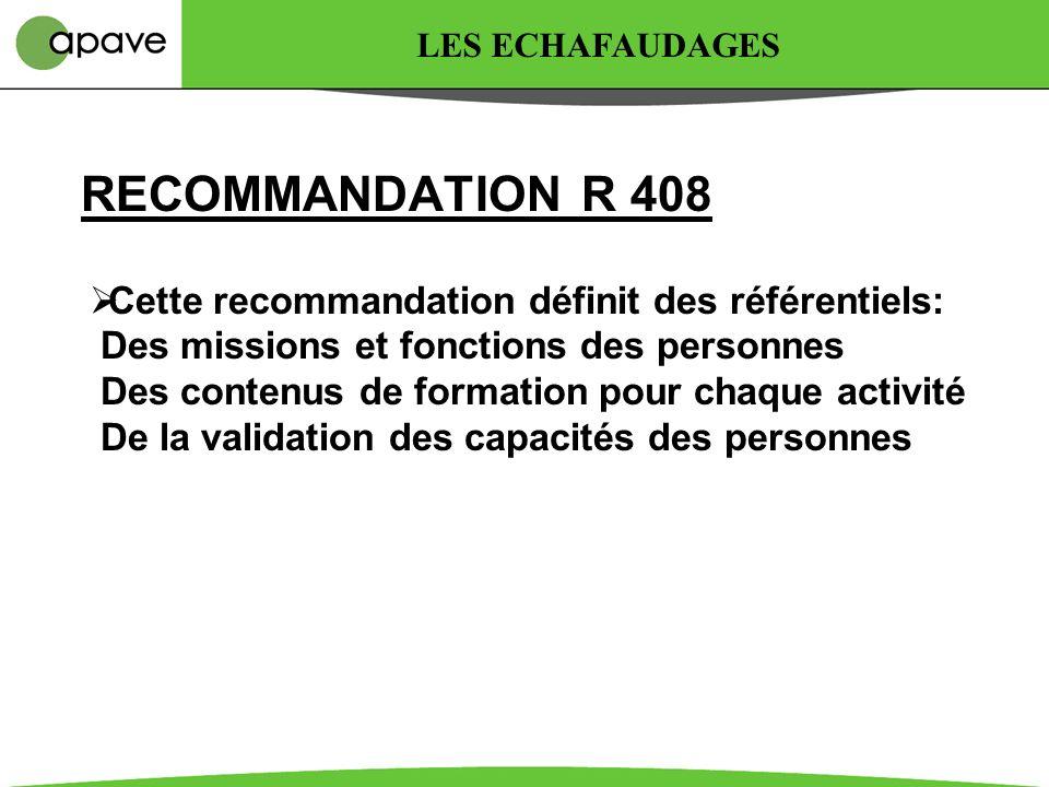 LES ECHAFAUDAGES RECOMMANDATION R 408.