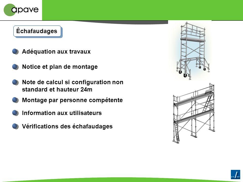 Échafaudages Adéquation aux travaux. Notice et plan de montage. Note de calcul si configuration non standard et hauteur 24m.