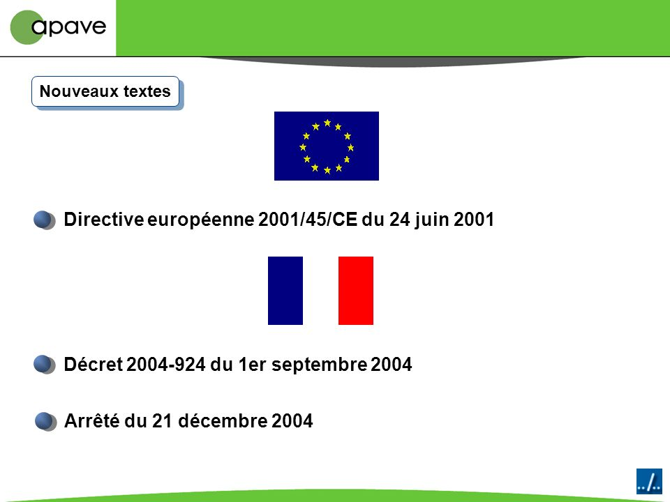 Directive européenne 2001/45/CE du 24 juin 2001