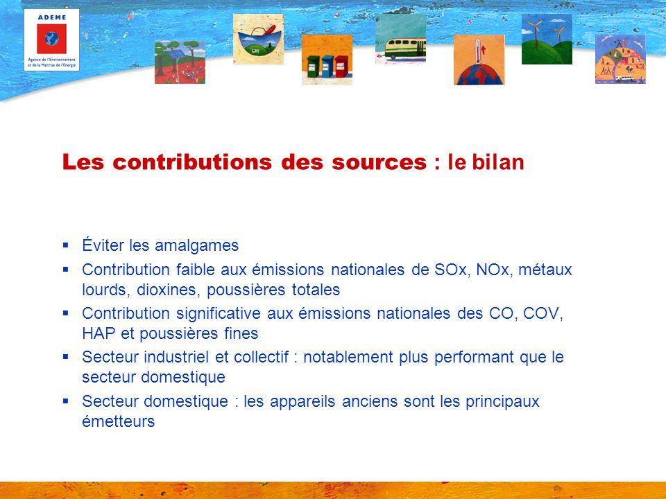 Les contributions des sources : le bilan